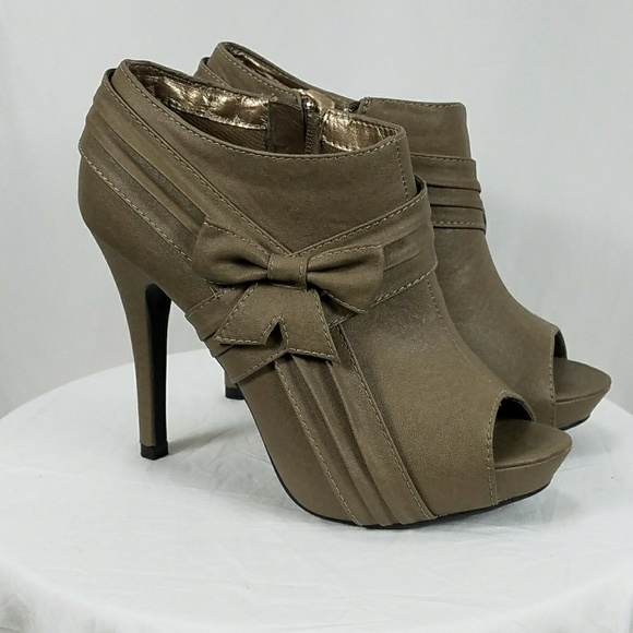 Shoes - Peep open toe high heel booties ankle boots w/bow
